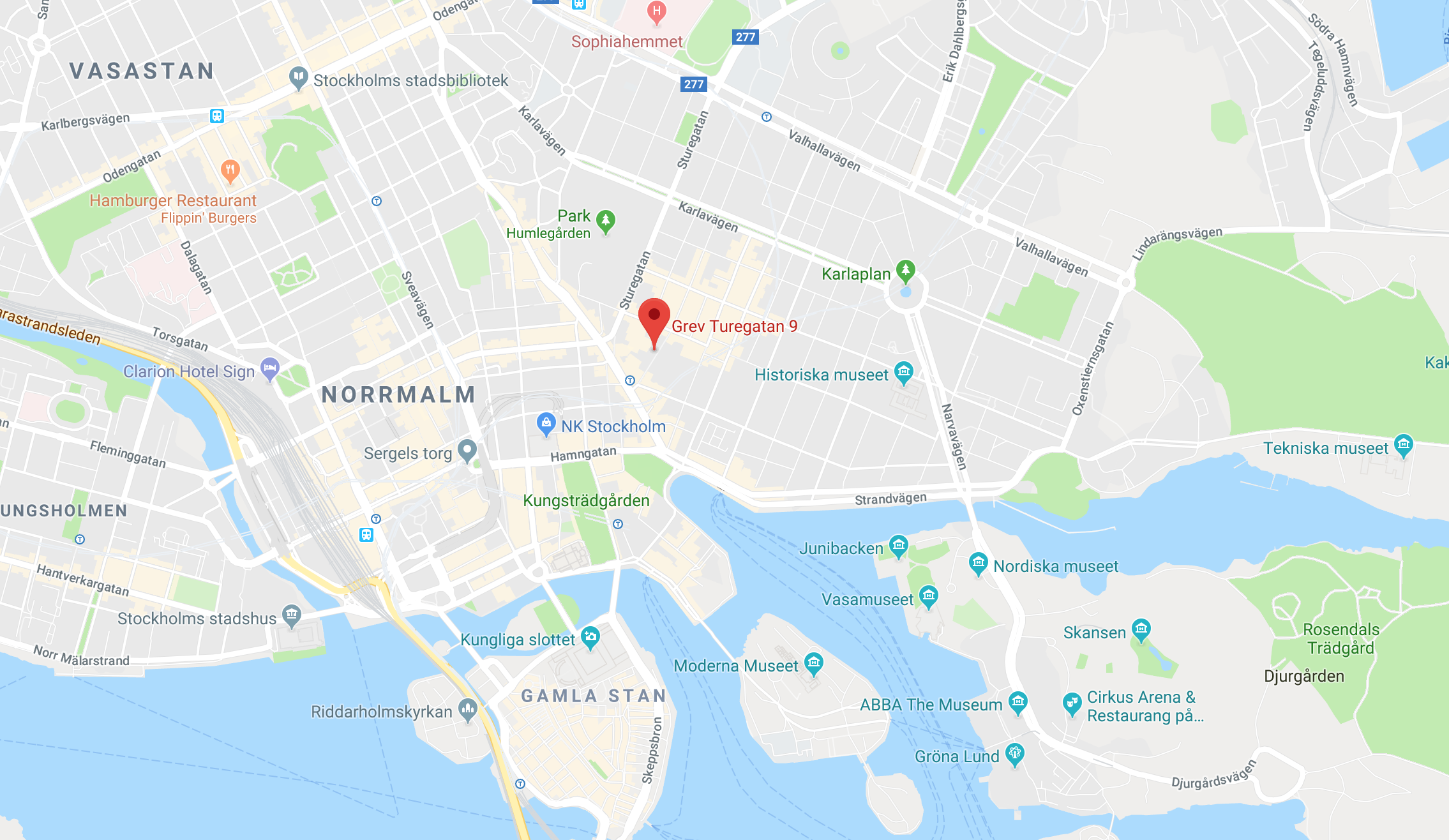 Google Map of Stockholm showing the Plotagon office location