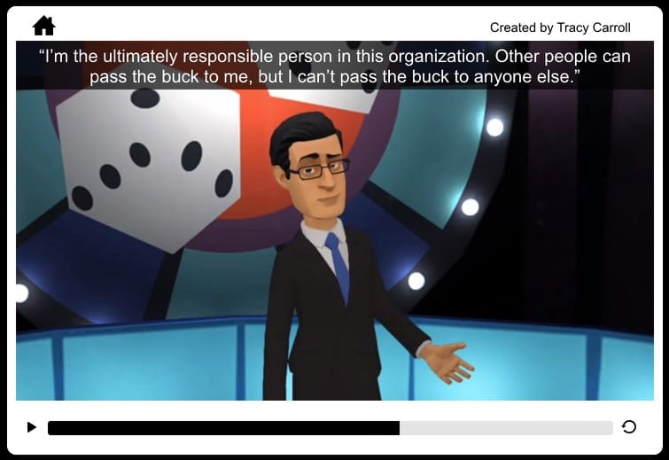 Image of Tracy Carroll's animated game show quiz using Articulate Storyline & Plotagon