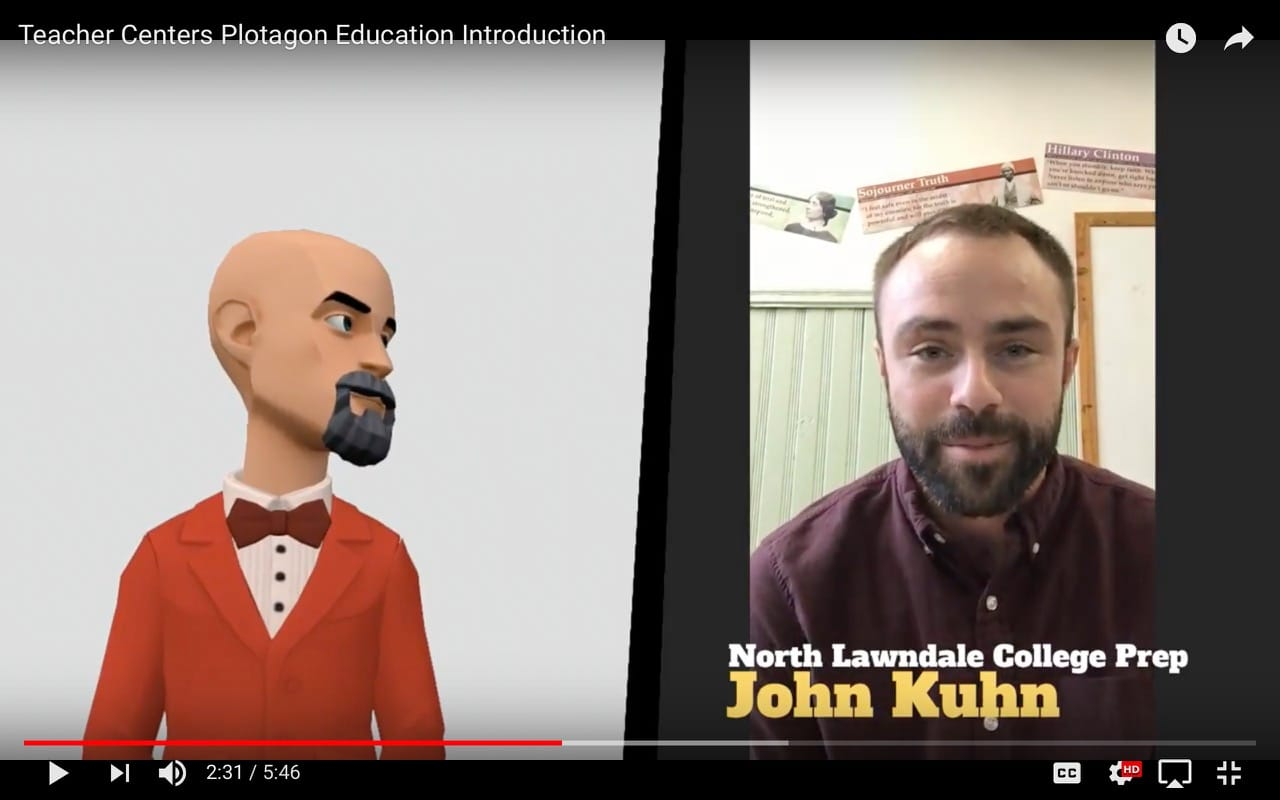 Screenshot of John Kuhn's testimonial video for Plotagon