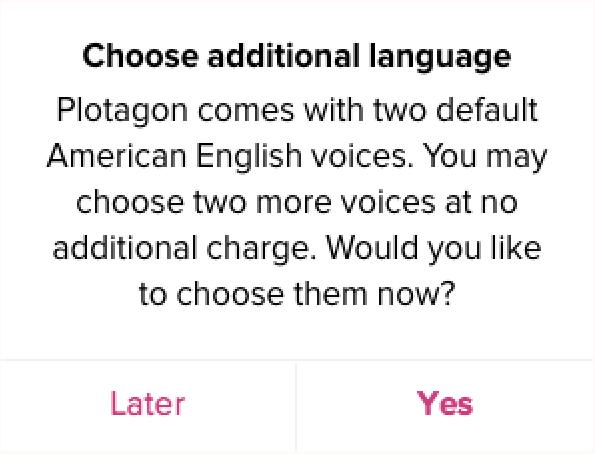 Plotagon Studio pick your voices screen