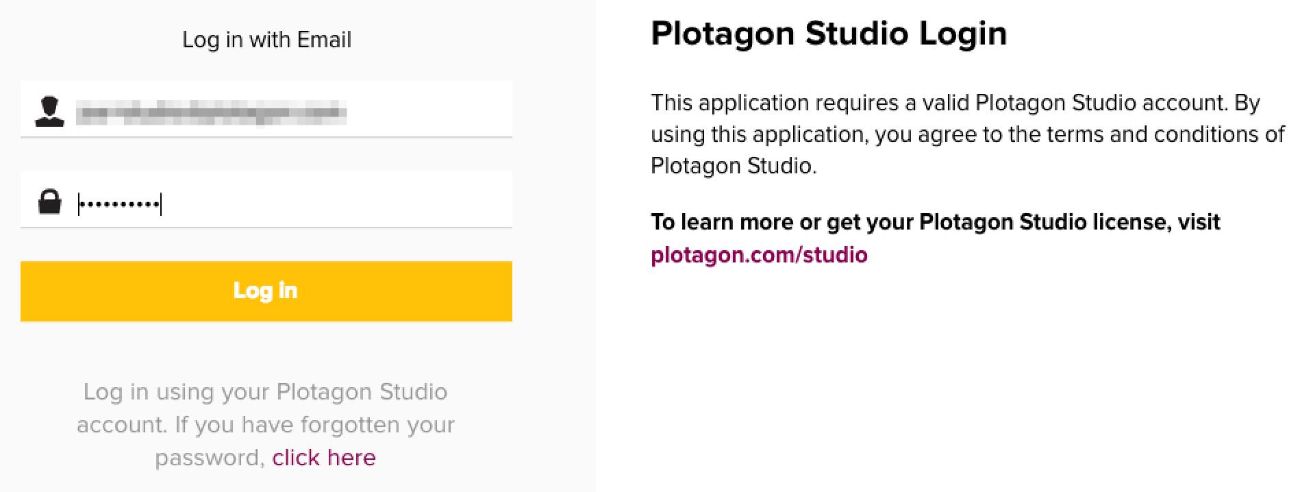 Plotagon Studio login screen