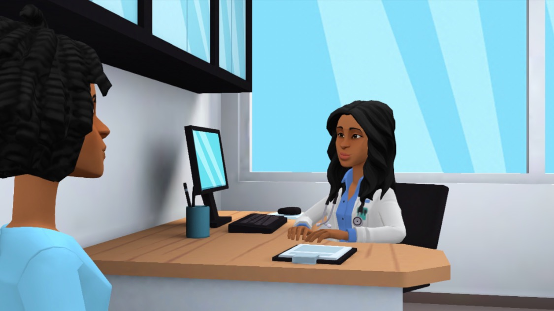 Animated doctor's office scene
