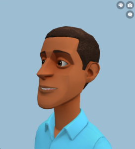 Image of the Plotagon Studio character creator showing an animated character looking left.