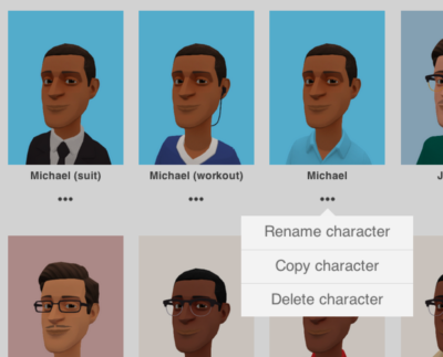 Image of the Plotagon Studio character gallery with options to rename, copy, or delete a character.