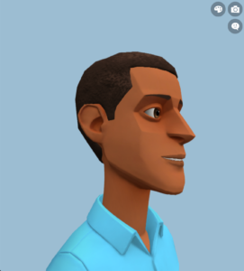 Image of the Plotagon Studio character creator showing an animated character looking right.
