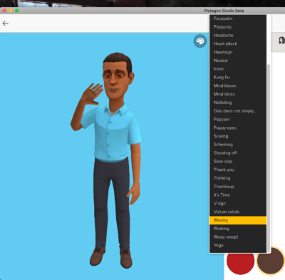 Image of the Plotagon Studio character creator showing animation options.