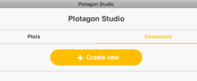 Image of the Plotagon Studio interface showing the create new character button.
