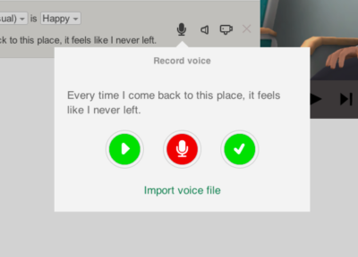 Image showing the voice recording dialogue box.