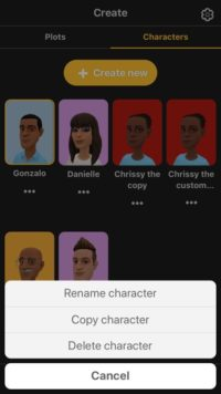 Image of the Plotagon Story character creator showing options to rename, copy, or delete a character.
