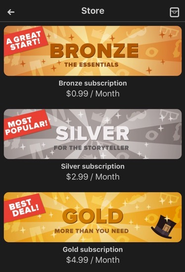 Image showing the bronze, silver and gold subscription plans.